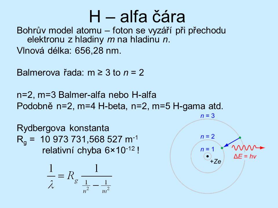 H – alfa čára Bohrův model atomu – foton se vyzáří při přechodu elektronu z hladiny m na hladinu n. Vlnová délka: 656,28 nm. Balmerova řada: m ≥ 3 to