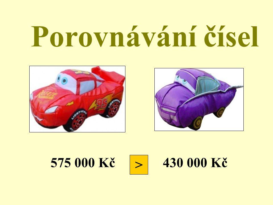 Porovnávání čísel 575 000 Kč 430 000 Kč >