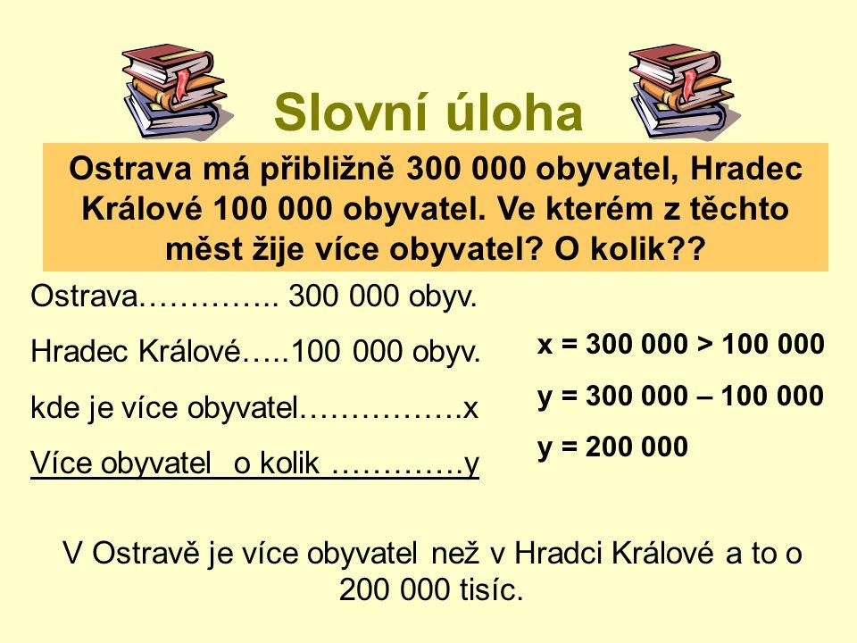 Slovní úloha Ostrava má přibližně 300 000 obyvatel, Hradec Králové 100 000 obyvatel. Ve kterém z těchto měst žije více obyvatel? O kolik?? Ostrava…………