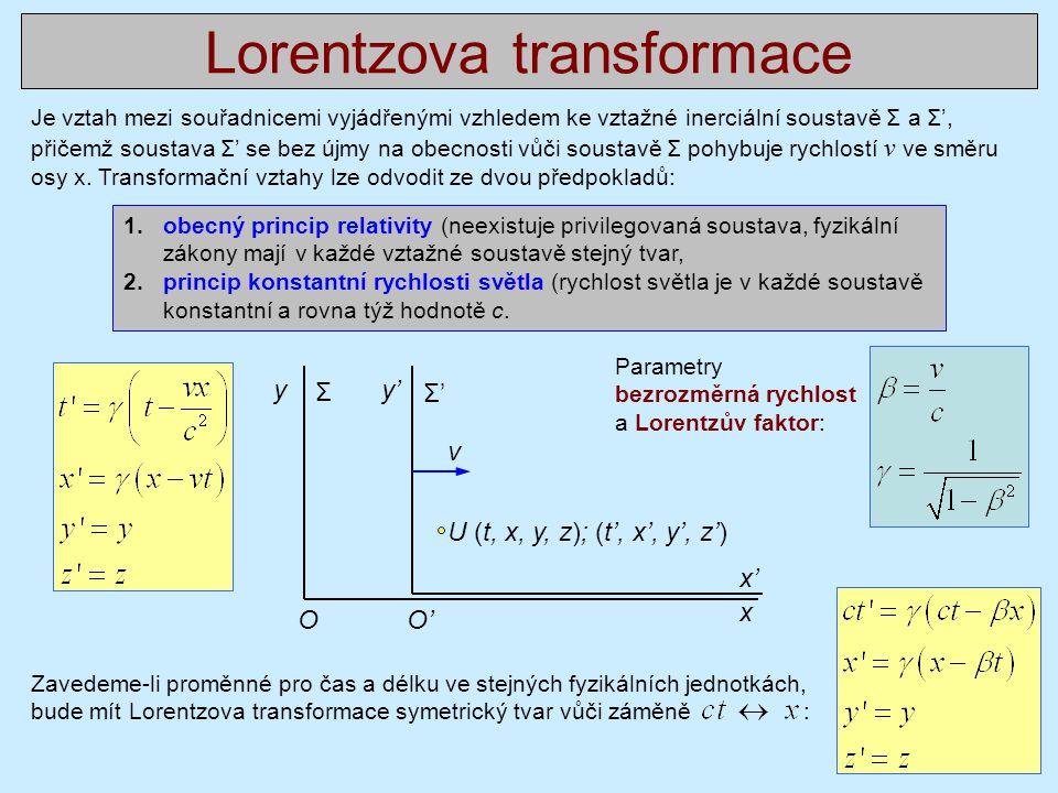 Lorentzova transformace Je vztah mezi souřadnicemi vyjádřenými vzhledem ke vztažné inerciální soustavě Σ a Σ', přičemž soustava Σ' se bez újmy na obec