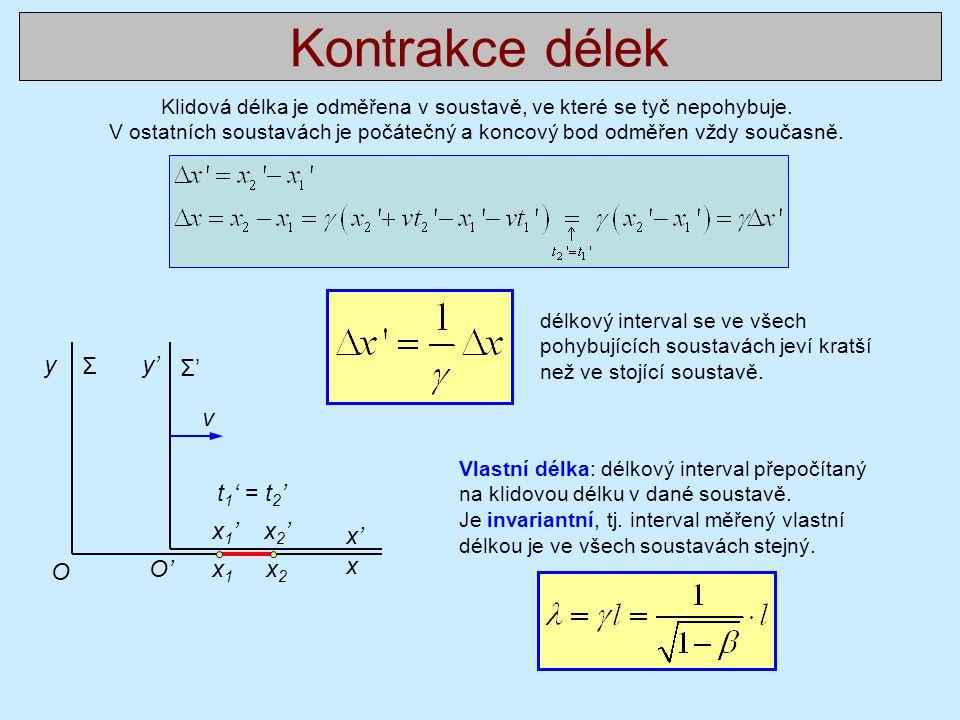 Kontrakce délek Klidová délka je odměřena v soustavě, ve které se tyč nepohybuje. V ostatních soustavách je počátečný a koncový bod odměřen vždy souča