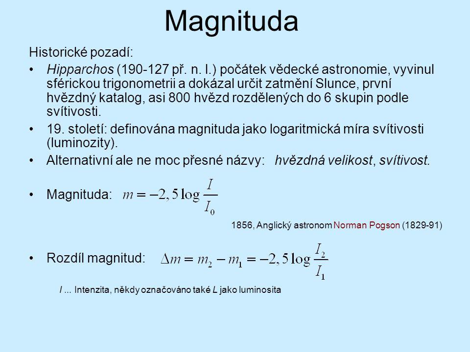 Magnituda Historické pozadí: Hipparchos (190-127 př. n. l.) počátek vědecké astronomie, vyvinul sférickou trigonometrii a dokázal určit zatmění Slunce