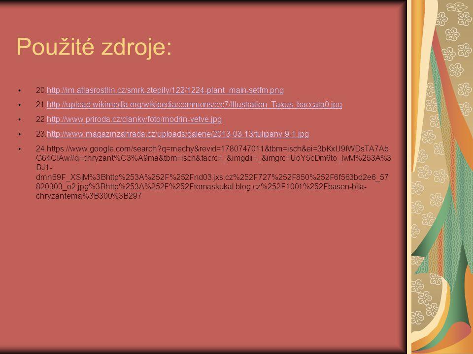 Použité zdroje: 20.http://im.atlasrostlin.cz/smrk-ztepily/122/1224-plant_main-setfm.pnghttp://im.atlasrostlin.cz/smrk-ztepily/122/1224-plant_main-setf