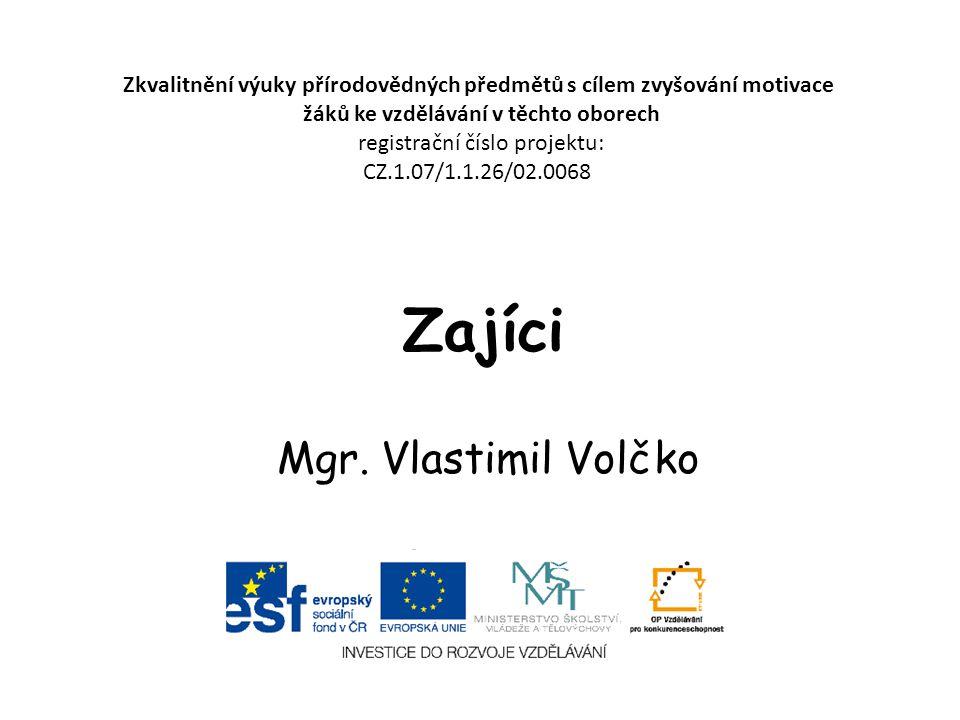 Zajíci Mgr. Vlastimil Volčko Zkvalitnění výuky přírodovědných předmětů s cílem zvyšování motivace žáků ke vzdělávání v těchto oborech registrační čísl