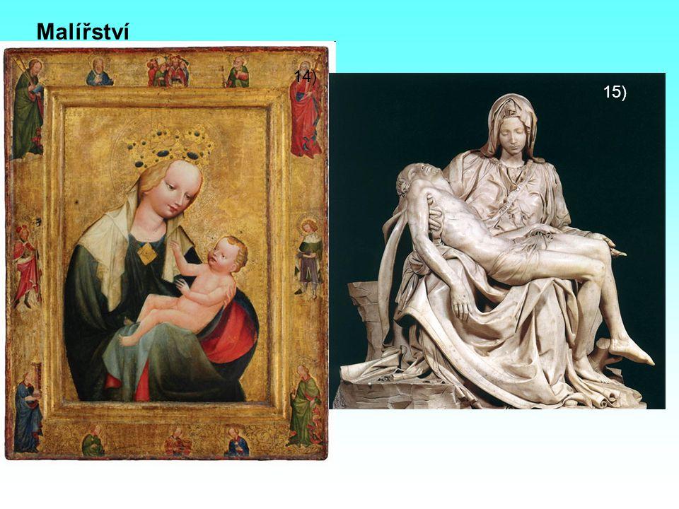Malířství - církevní tématika - deskové obrazy – malba na vyhlazené dřevěné desky - freskové obrazy – malba do vlhké omítky - obrazy zpravidla nebyly