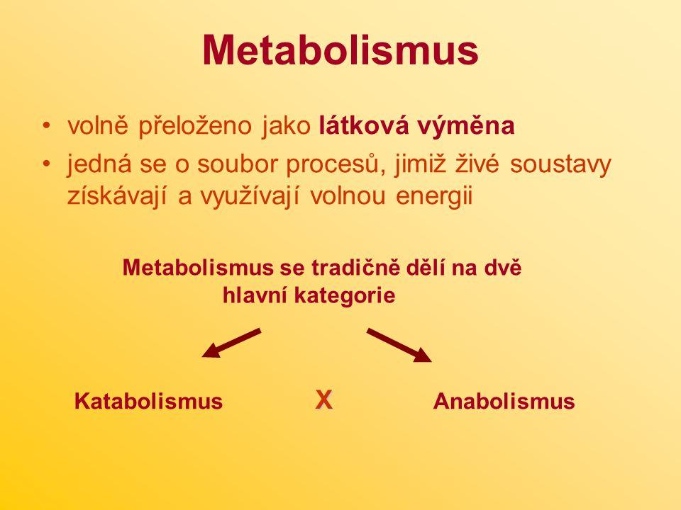 Metabolismus volně přeloženo jako látková výměna jedná se o soubor procesů, jimiž živé soustavy získávají a využívají volnou energii Metabolismus se tradičně dělí na dvě hlavní kategorie Katabolismus X Anabolismus