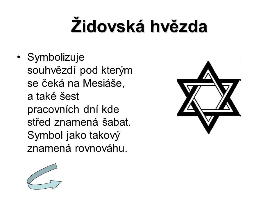 Židovská hvězda Symbolizuje souhvězdí pod kterým se čeká na Mesiáše, a také šest pracovních dní kde střed znamená šabat. Symbol jako takový znamená ro