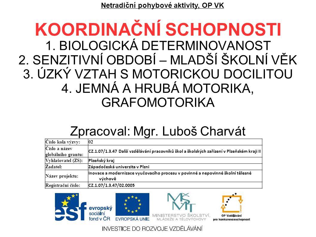 KOORDINAČNÍ SCHOPNOSTI 1. BIOLOGICKÁ DETERMINOVANOST 2.