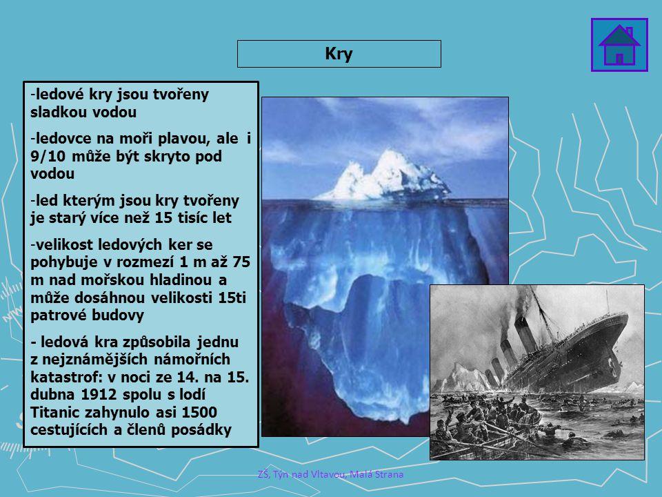 ZŠ, Týn nad Vltavou, Malá Strana Kry -ledové kry jsou tvořeny sladkou vodou -ledovce na moři plavou, ale i 9/10 může být skryto pod vodou -led kterým