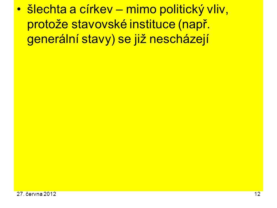 šlechta a církev – mimo politický vliv, protože stavovské instituce (např. generální stavy) se již nescházejí 27. června 201212
