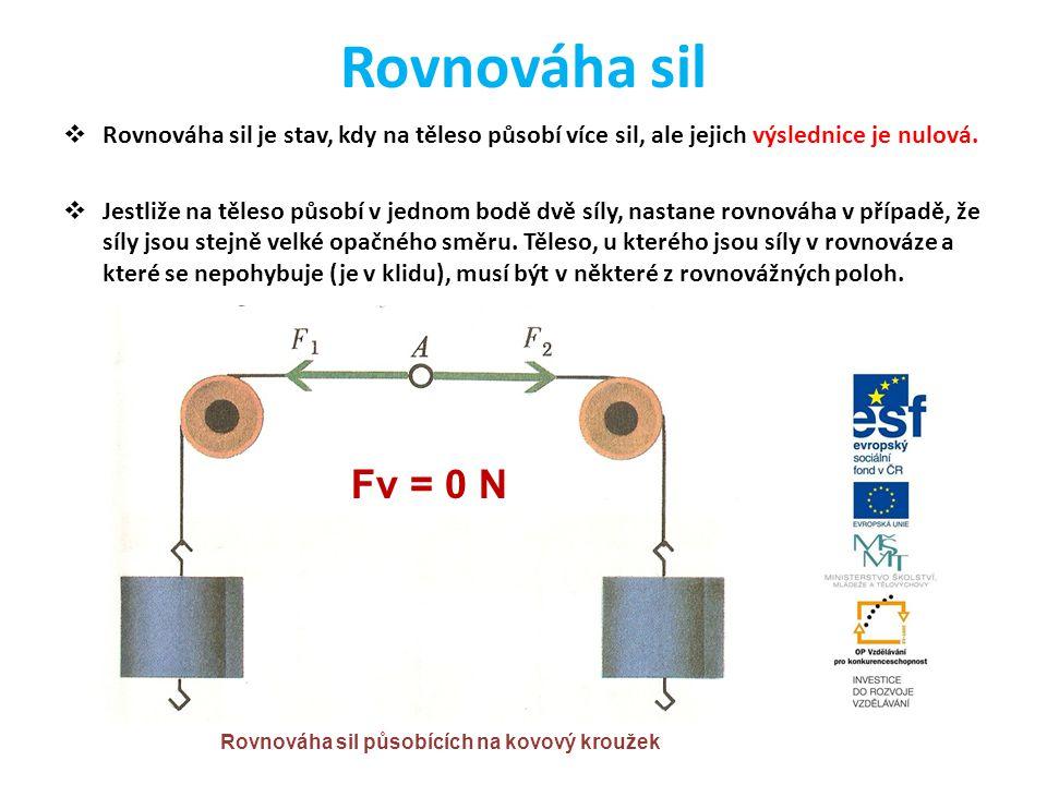 Rovnováha sil  Rovnováha sil je stav, kdy na těleso působí více sil, ale jejich výslednice je nulová.  Jestliže na těleso působí v jednom bodě dvě s
