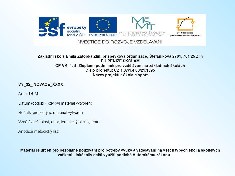 Základní škola Emila Zátopka Zlín, příspěvková organizace, Štefánikova 2701, 761 25 Zlín EU PENÍZE ŠKOLÁM OP VK- 1.