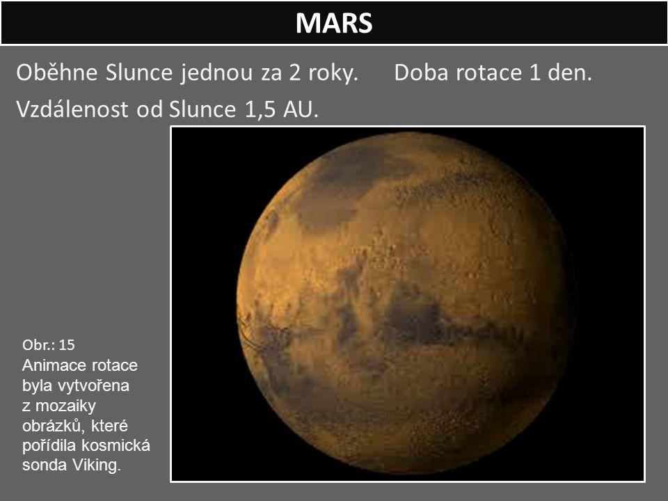 Oběhne Slunce jednou za 2 roky. Doba rotace 1 den. Vzdálenost od Slunce 1,5 AU. MARS Obr.: 15 Animace rotace byla vytvořena z mozaiky obrázků, které p