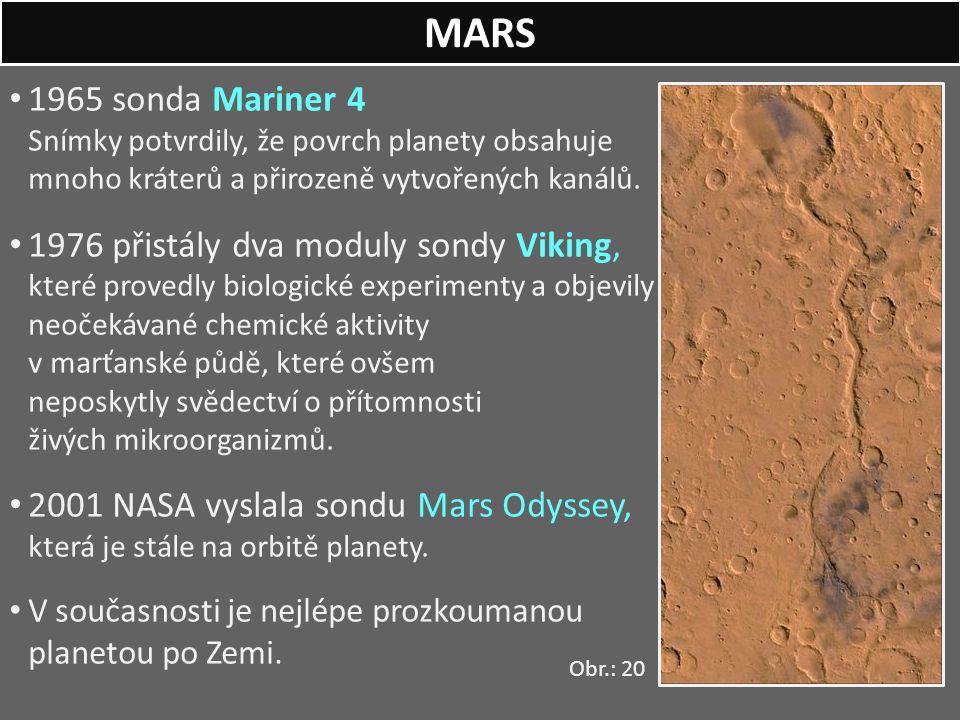 1965 sonda Mariner 4 Snímky potvrdily, že povrch planety obsahuje mnoho kráterů a přirozeně vytvořených kanálů. 1976 přistály dva moduly sondy Viking,
