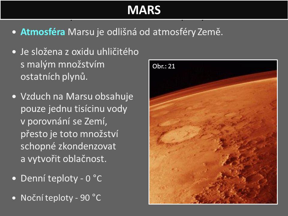 Západ Slunce na Marsu - v pravých barvách. Atmosféra Marsu je odlišná od atmosféry Země. Je složena z oxidu uhličitého s malým množstvím ostatních ply