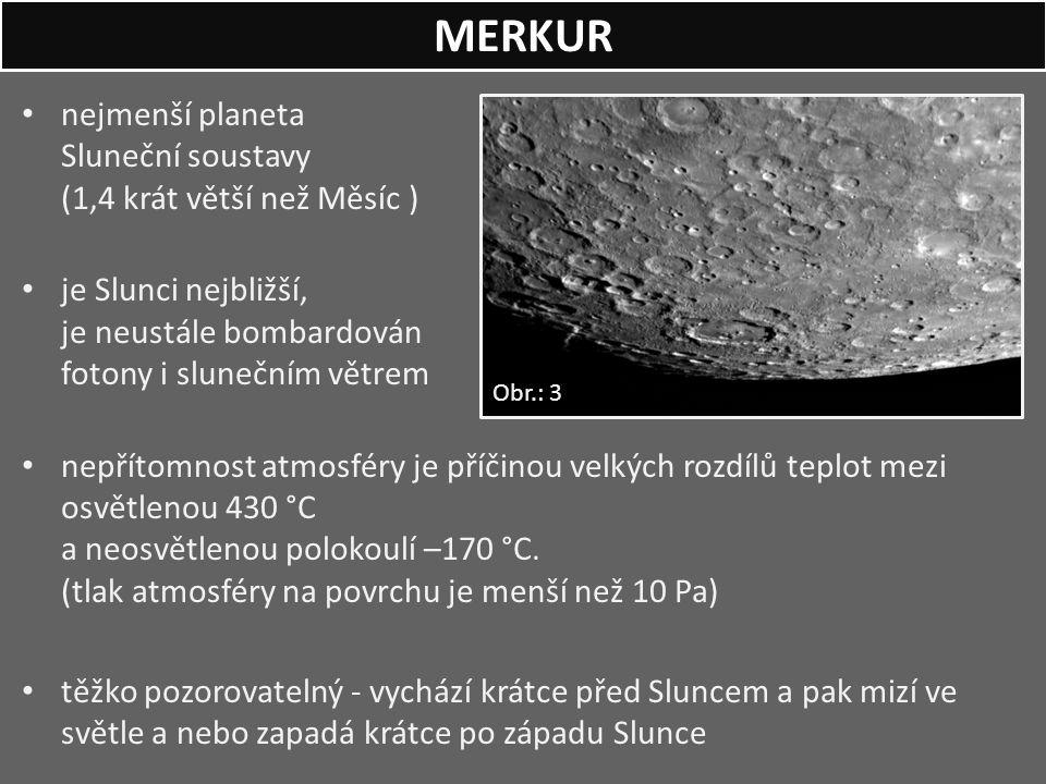 nejmenší planeta Sluneční soustavy (1,4 krát větší než Měsíc ) je Slunci nejbližší, je neustále bombardován fotony i slunečním větrem nepřítomnost atm