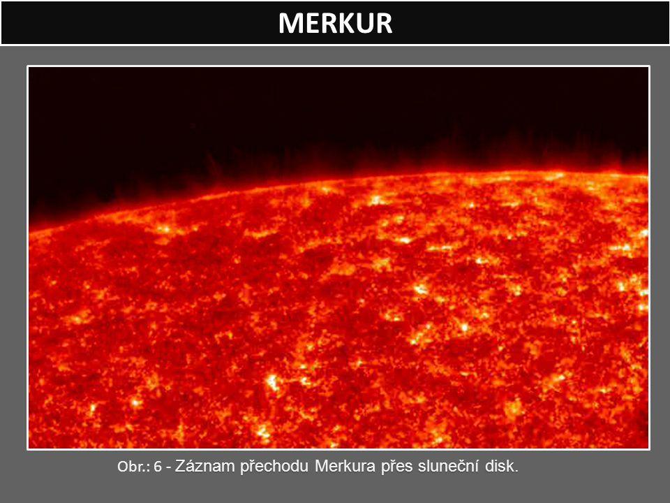 MERKUR Záznam přechodu Merkura přes sluneční disk. Obr.: 6 - Záznam přechodu Merkura přes sluneční disk.