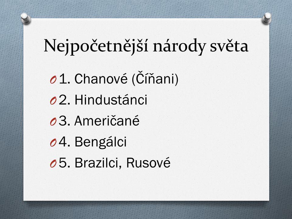 Nejpočetnější národy světa O 1. Chanové (Číňani) O 2. Hindustánci O 3. Američané O 4. Bengálci O 5. Brazilci, Rusové