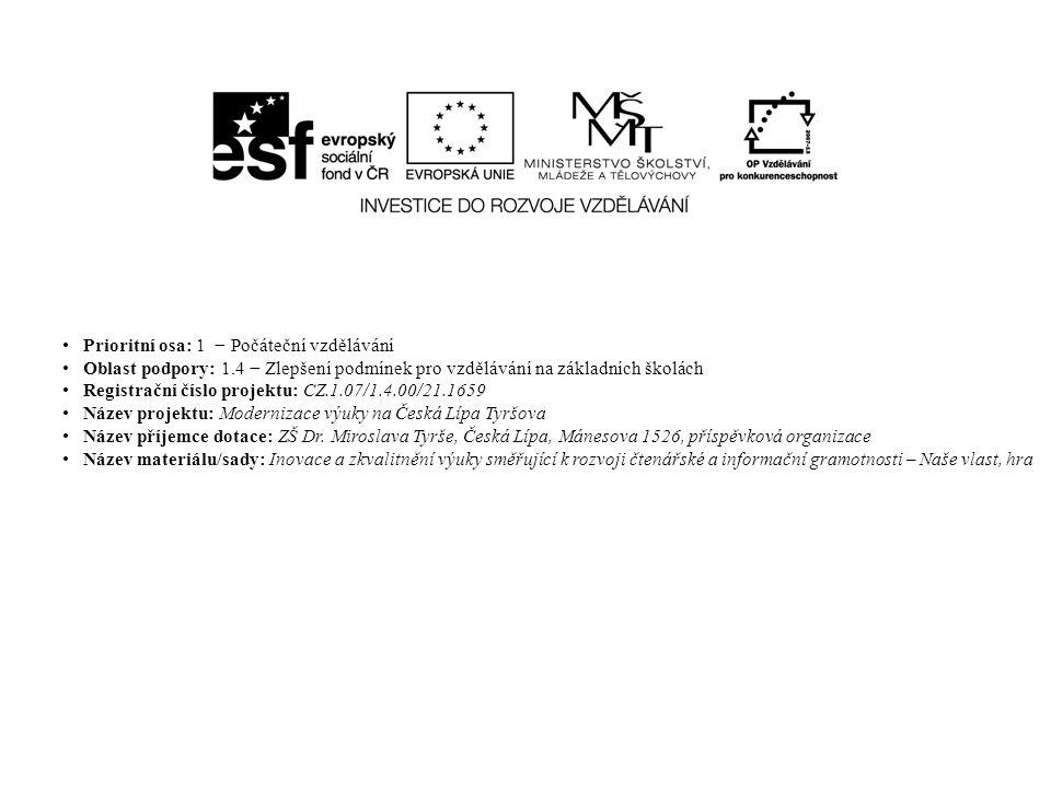 Prioritní osa: 1 − Počáteční vzdělávání Oblast podpory: 1.4 − Zlepšení podmínek pro vzdělávání na základních školách Registrační číslo projektu: CZ.1.07/1.4.00/21.1659 Název projektu: Modernizace výuky na Česká Lípa Tyršova Název příjemce dotace: ZŠ Dr.
