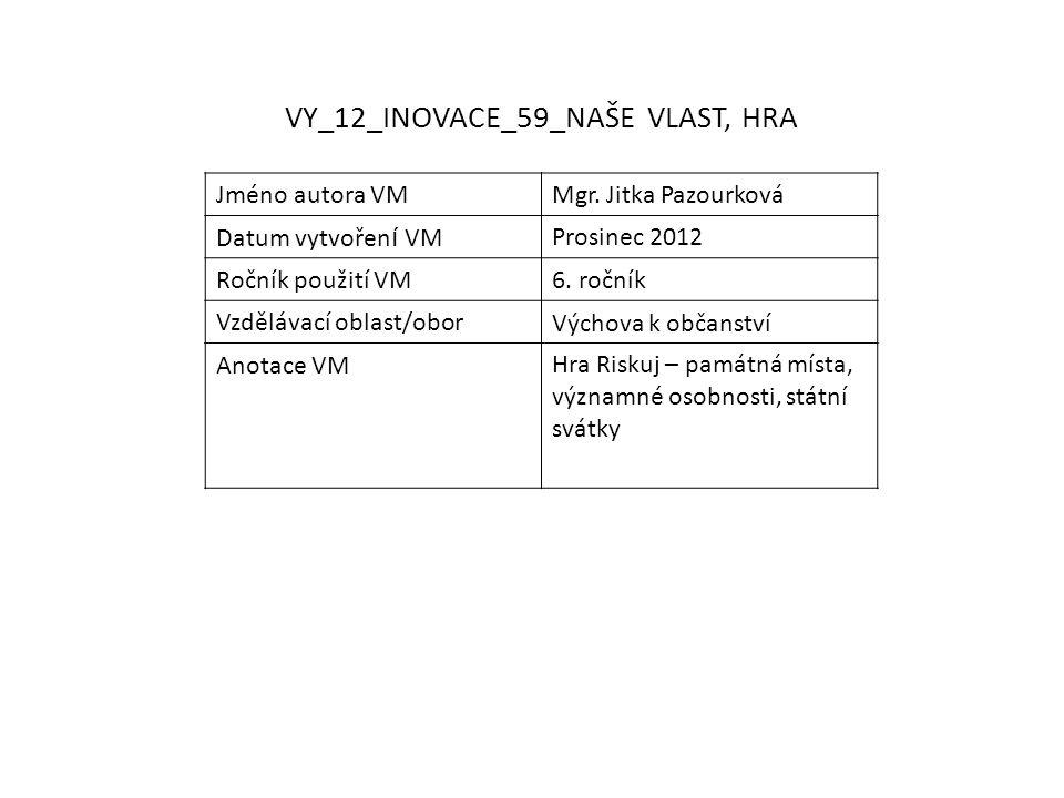VY_12_INOVACE_59_NAŠE VLAST, HRA Jméno autora VMMgr.