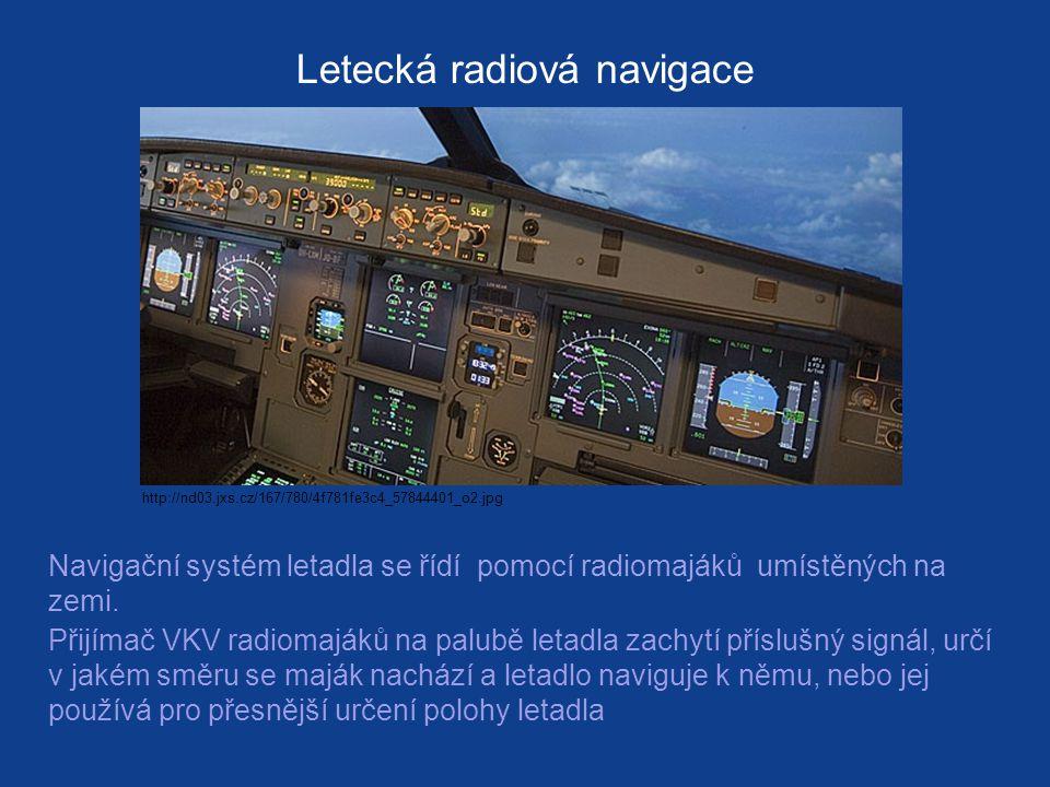 Letecká radiová navigace Navigační systém letadla se řídí pomocí radiomajáků umístěných na zemi.