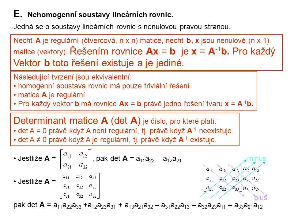 E. Nehomogenní soustavy lineárních rovnic. Jedná se o soustavy lineárních rovnic s nenulovou pravou stranou. Nechť A je regulární (čtvercová, n x n) m