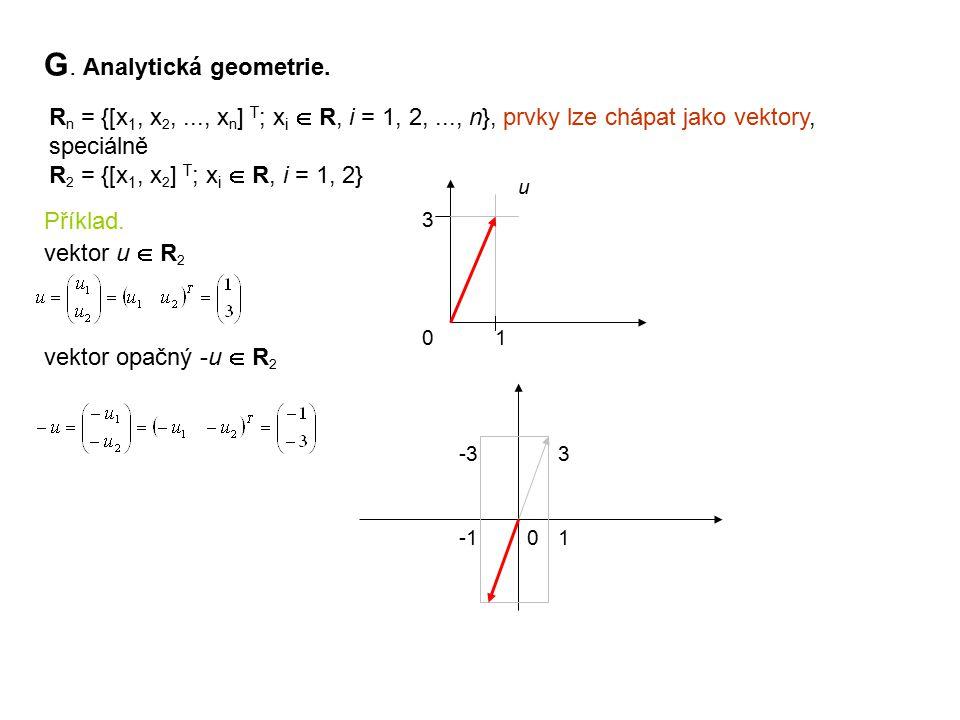 G. Analytická geometrie. R n = {[x 1, x 2,..., x n ] T ; x i  R, i = 1, 2,..., n}, prvky lze chápat jako vektory, speciálně R 2 = {[x 1, x 2 ] T ; x