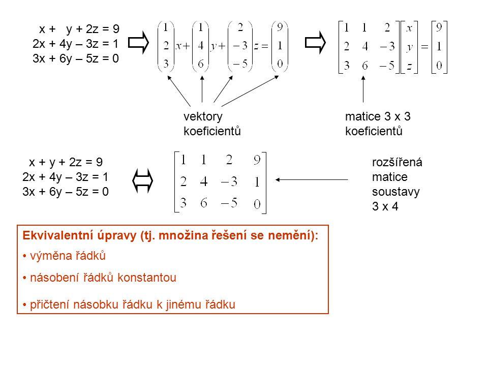 x + y + 2z = 9 2x + 4y – 3z = 1 3x + 6y – 5z = 0 vektory koeficientů matice 3 x 3 koeficientů rozšířená matice soustavy 3 x 4 Ekvivalentní úpravy (tj.