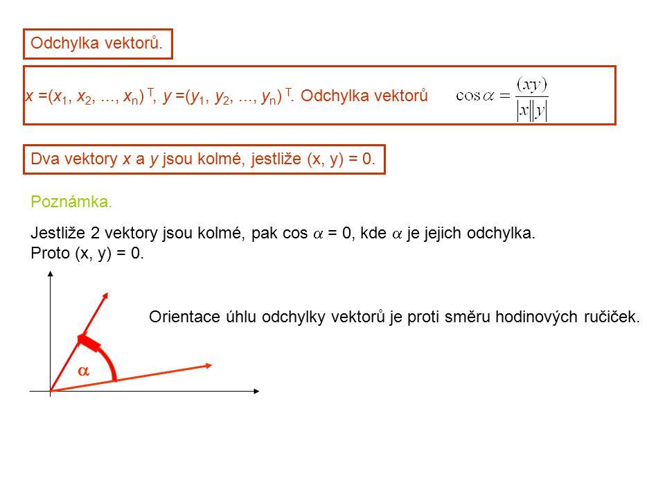 Odchylka vektorů. x =(x 1, x 2,..., x n ) T, y =(y 1, y 2,..., y n ) T. Odchylka vektorů Dva vektory x a y jsou kolmé, jestliže (x, y) = 0. Poznámka.