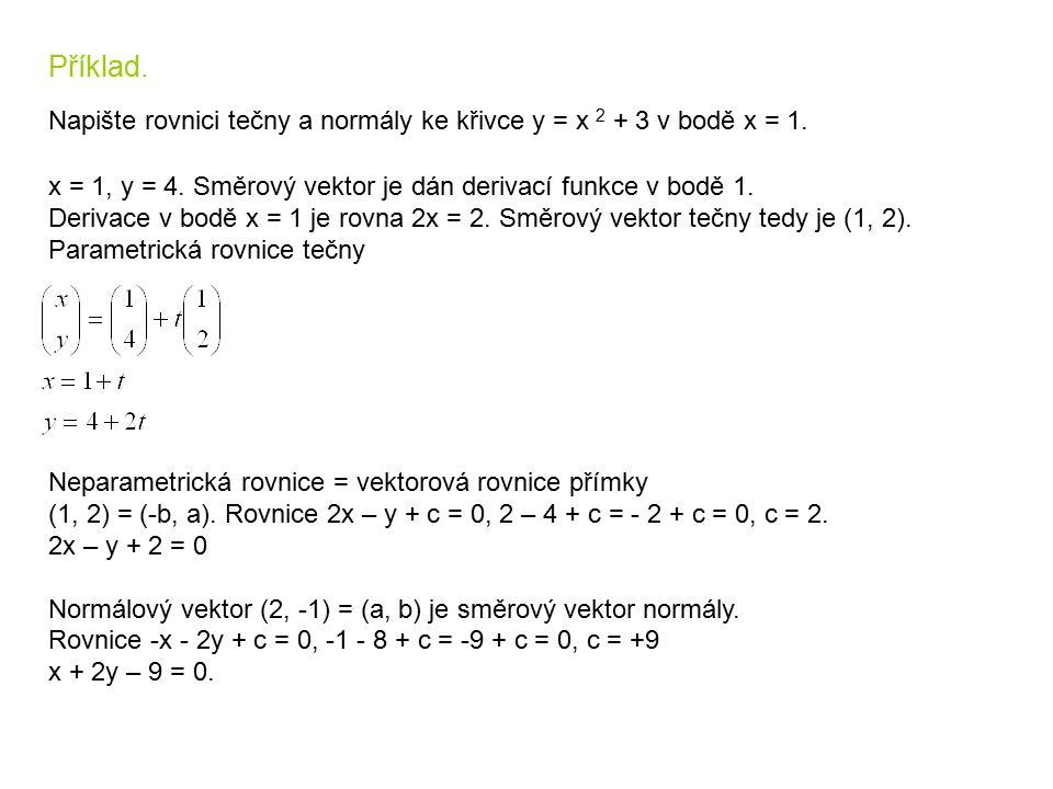 Příklad. Napište rovnici tečny a normály ke křivce y = x 2 + 3 v bodě x = 1. x = 1, y = 4. Směrový vektor je dán derivací funkce v bodě 1. Derivace v