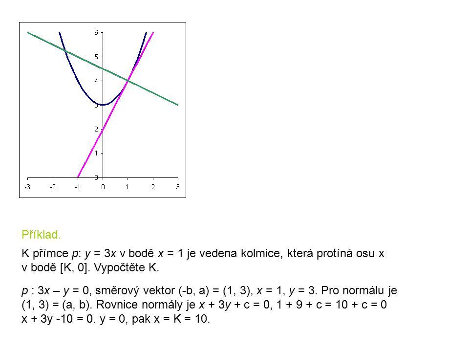 Příklad. K přímce p: y = 3x v bodě x = 1 je vedena kolmice, která protíná osu x v bodě [K, 0]. Vypočtěte K. p : 3x – y = 0, směrový vektor (-b, a) = (
