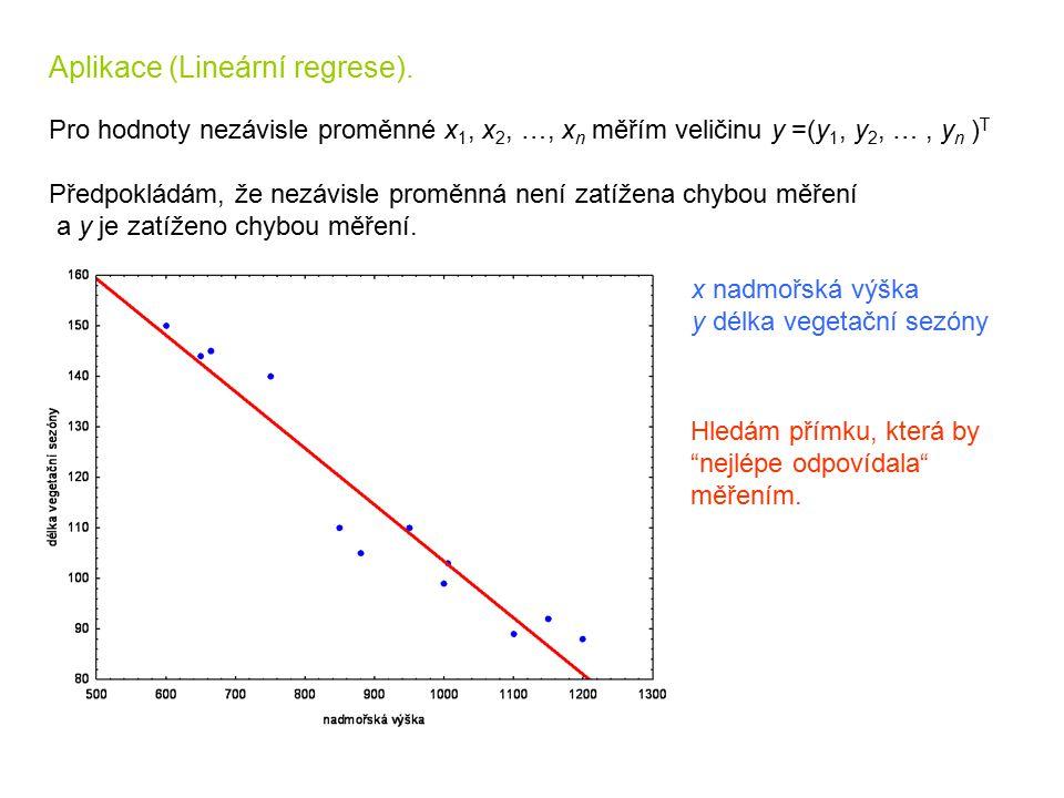Aplikace (Lineární regrese). Pro hodnoty nezávisle proměnné x 1, x 2, …, x n měřím veličinu y =(y 1, y 2, …, y n ) T Předpokládám, že nezávisle proměn