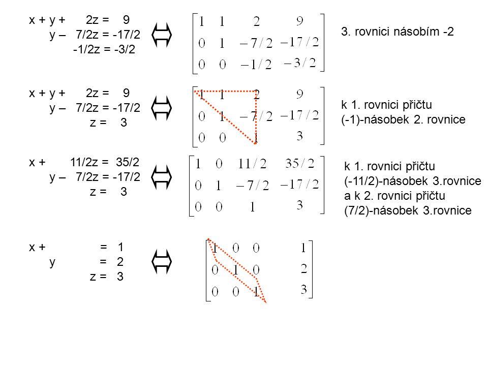 x + y + 2z = 9 y – 7/2z = -17/2 -1/2z = -3/2 3. rovnici násobím -2 x + y + 2z = 9 y – 7/2z = -17/2 z = 3 k 1. rovnici přičtu (-1)-násobek 2. rovnice x