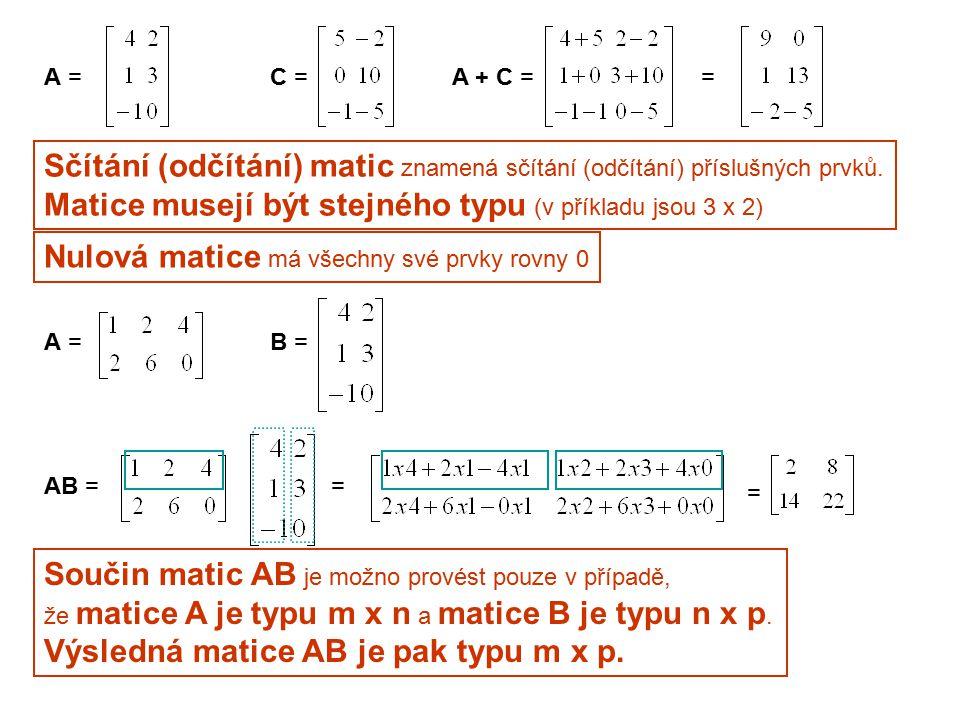 Jestliže i-tý řádek matice A obsahuje prvky a i1, a i2,..., a in a j-tý sloupec matice B obsahuje prvky b 1j, b 2j,...,b nj, pak prvek c ij matice AB tvar c ij = a i1 b 1j + a i2 b 2 j +...