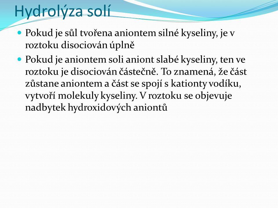 Hydrolýza solí Pokud je sůl tvořena aniontem silné kyseliny, je v roztoku disociován úplně Pokud je aniontem soli aniont slabé kyseliny, ten ve roztoku je disociován částečně.