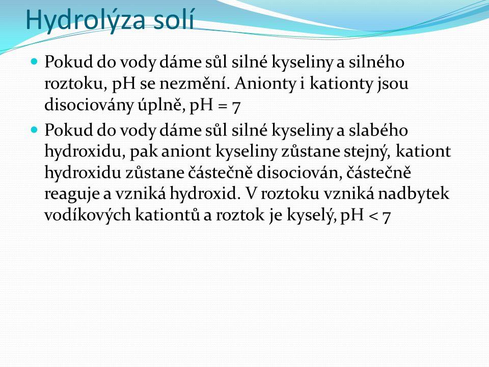 Hydrolýza solí Pokud do vody dáme sůl silného hydroxidu a slabé kyseliny, pak kationt hydroxidu zůstane stejný, aniont kyseliny zůstane částečně disociován, částečně reaguje a vzniká kyselina.