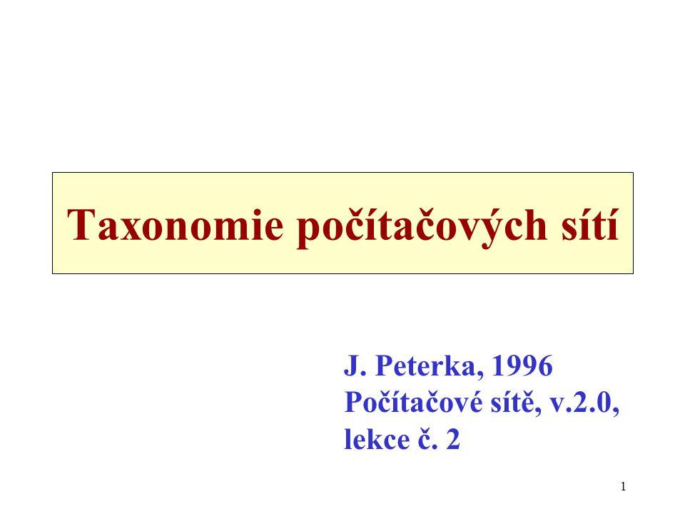 1 Taxonomie počítačových sítí J. Peterka, 1996 Počítačové sítě, v.2.0, lekce č. 2