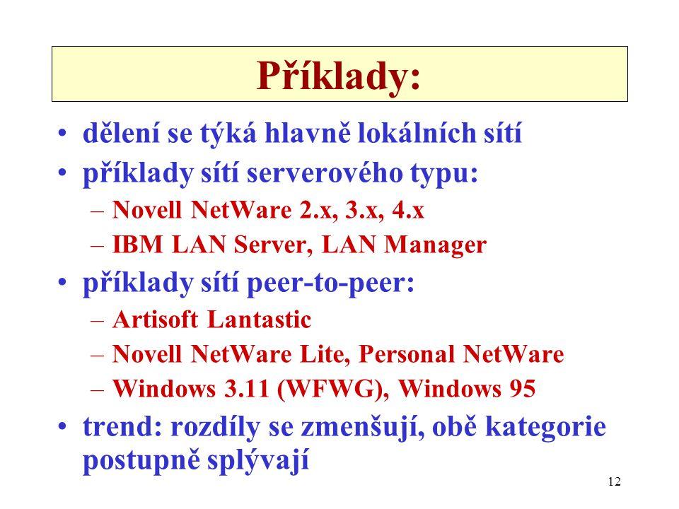 12 Příklady: dělení se týká hlavně lokálních sítí příklady sítí serverového typu: –Novell NetWare 2.x, 3.x, 4.x –IBM LAN Server, LAN Manager příklady sítí peer-to-peer: –Artisoft Lantastic –Novell NetWare Lite, Personal NetWare –Windows 3.11 (WFWG), Windows 95 trend: rozdíly se zmenšují, obě kategorie postupně splývají