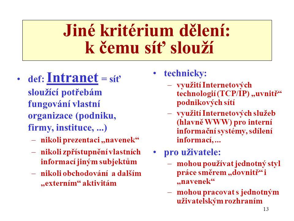 """13 Jiné kritérium dělení: k čemu síť slouží def: Intranet = síť sloužící potřebám fungování vlastní organizace (podniku, firmy, instituce,...) –nikoli prezentaci """"navenek –nikoli zpřístupnění vlastních informací jiným subjektům –nikoli obchodování a dalším """"externím aktivitám technicky: –využití Internetových technologií (TCP/IP) """"uvnitř podnikových sítí –využití Internetových služeb (hlavně WWW) pro interní informační systémy, sdílení informací,..."""