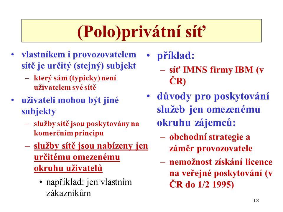 18 (Polo)privátní síť vlastníkem i provozovatelem sítě je určitý (stejný) subjekt –který sám (typicky) není uživatelem své sítě uživateli mohou být ji