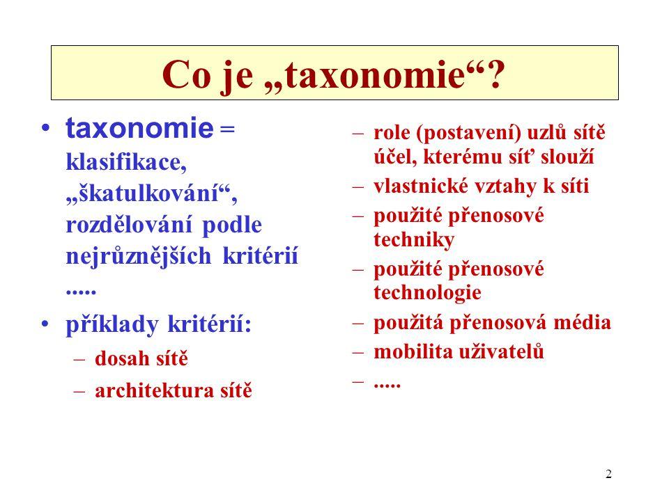 """2 Co je """"taxonomie""""? taxonomie = klasifikace, """"škatulkování"""", rozdělování podle nejrůznějších kritérií..... příklady kritérií: –dosah sítě –architektu"""