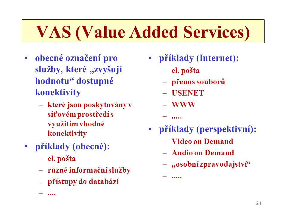 """21 VAS (Value Added Services) obecné označení pro služby, které """"zvyšují hodnotu dostupné konektivity –které jsou poskytovány v síťovém prostředí s využitím vhodné konektivity příklady (obecné): –el."""