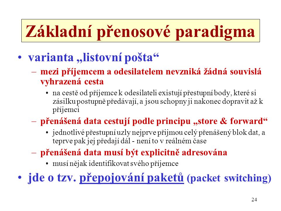 """24 Základní přenosové paradigma varianta """"listovní pošta"""" –mezi příjemcem a odesilatelem nevzniká žádná souvislá vyhrazená cesta na cestě od příjemce"""