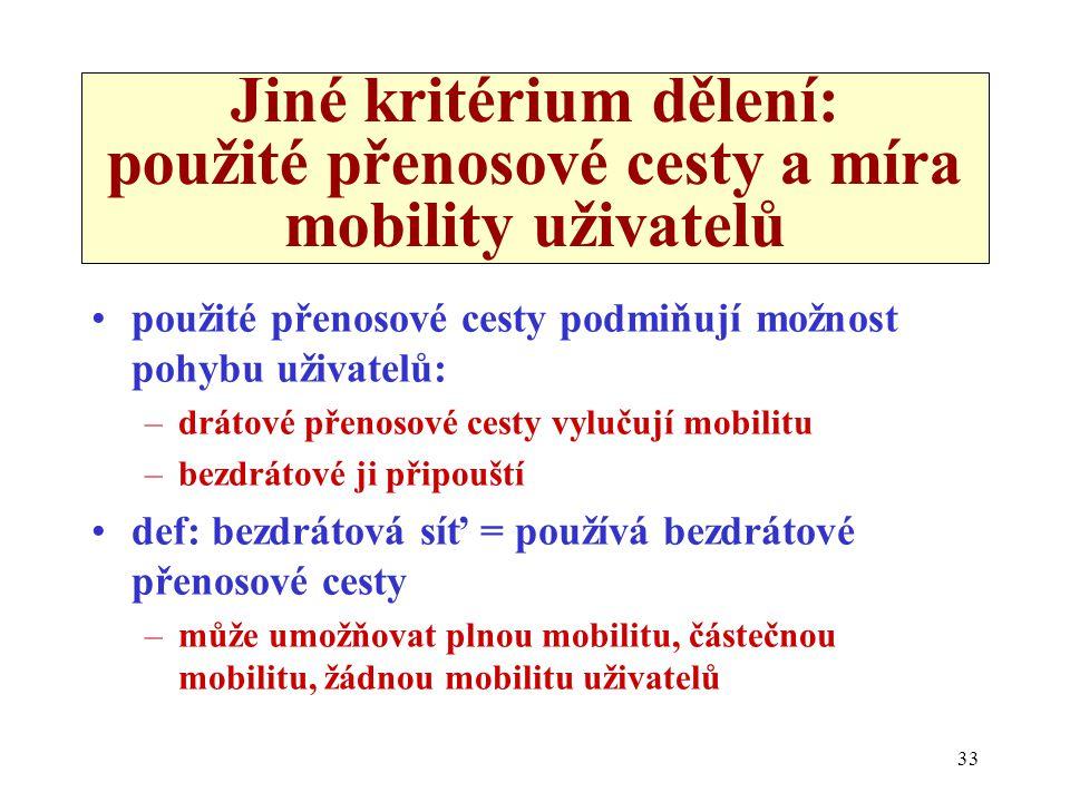 33 Jiné kritérium dělení: použité přenosové cesty a míra mobility uživatelů použité přenosové cesty podmiňují možnost pohybu uživatelů: –drátové přenosové cesty vylučují mobilitu –bezdrátové ji připouští def: bezdrátová síť = používá bezdrátové přenosové cesty –může umožňovat plnou mobilitu, částečnou mobilitu, žádnou mobilitu uživatelů