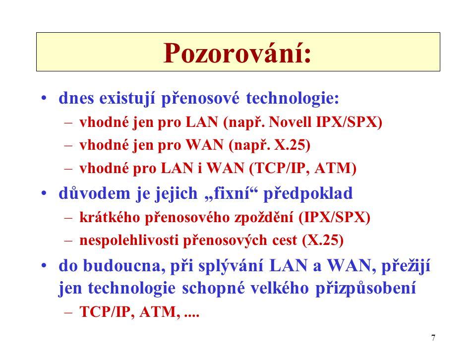 7 Pozorování: dnes existují přenosové technologie: –vhodné jen pro LAN (např. Novell IPX/SPX) –vhodné jen pro WAN (např. X.25) –vhodné pro LAN i WAN (