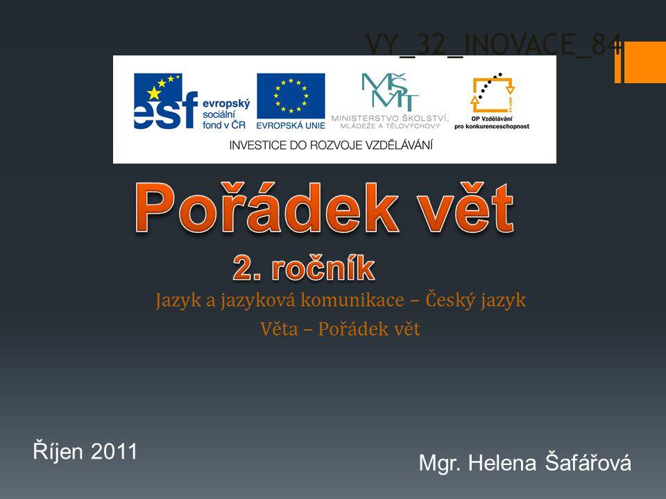 Jazyk a jazyková komunikace – Český jazyk Věta – Pořádek vět VY_32_INOVACE_84 Říjen 2011 Mgr.