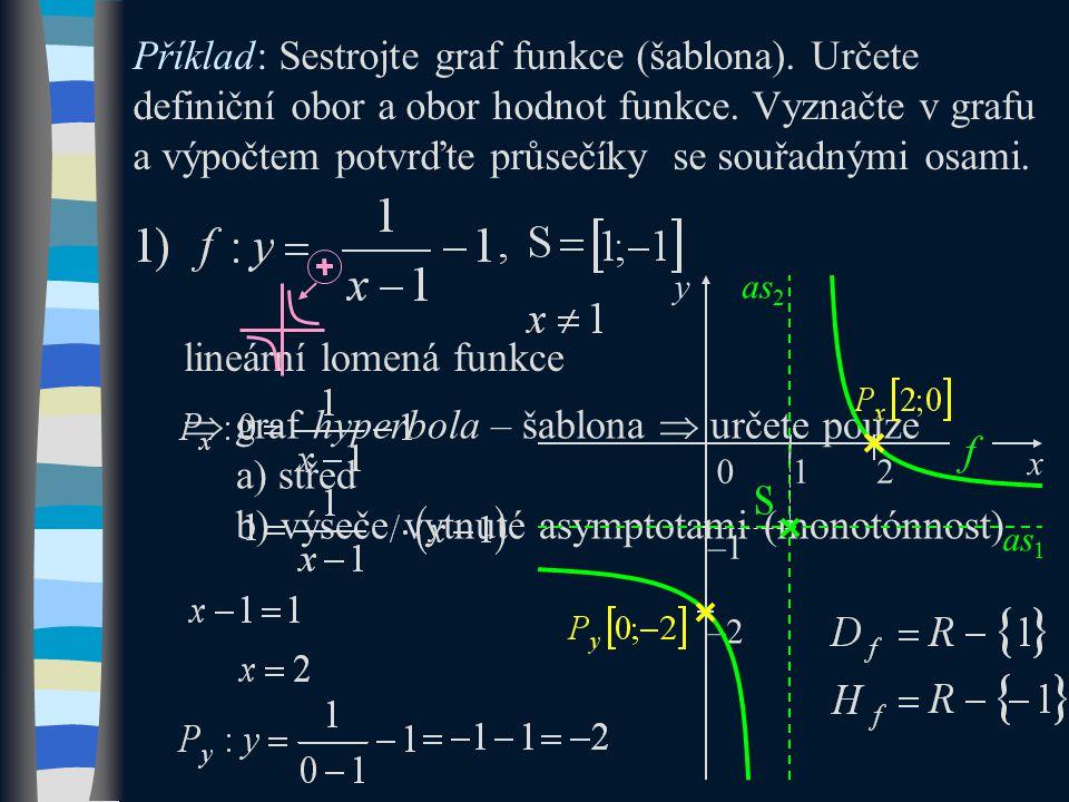  graf hyperbola – šablona  určete pouze a) střed b) výseče vytnuté asymptotami (monotónnost) Příklad: Sestrojte graf funkce (šablona). Určete defini