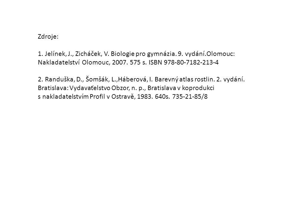 Zdroje: 1. Jelínek, J., Zicháček, V. Biologie pro gymnázia. 9. vydání.Olomouc: Nakladatelství Olomouc, 2007. 575 s. ISBN 978-80-7182-213-4 2. Randuška