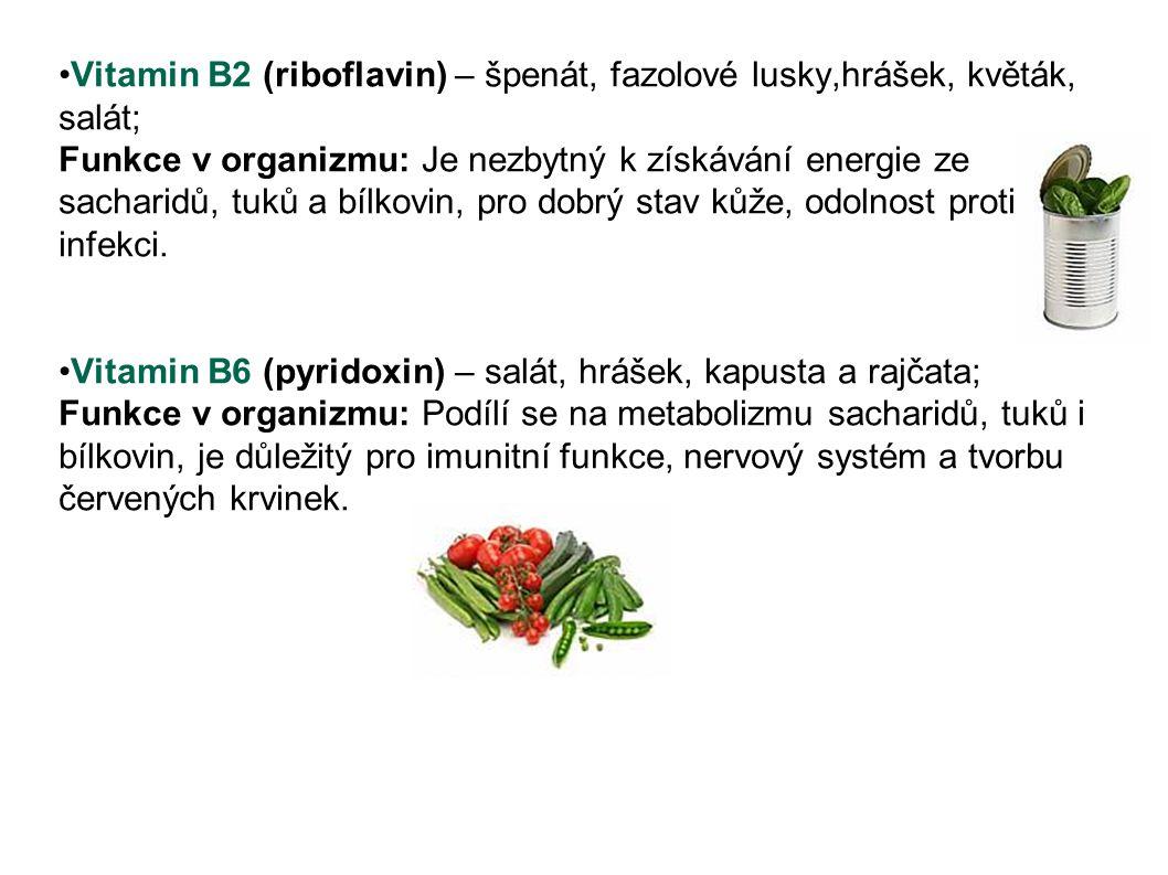 Vitamin B2 (riboflavin) – špenát, fazolové lusky,hrášek, květák, salát; Funkce v organizmu: Je nezbytný k získávání energie ze sacharidů, tuků a bílko