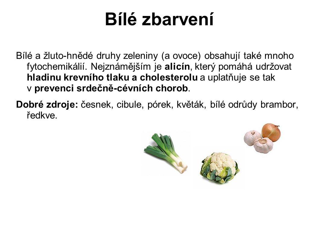 Bílé zbarvení Bílé a žluto-hnědé druhy zeleniny (a ovoce) obsahují také mnoho fytochemikálií. Nejznámějším je alicín, který pomáhá udržovat hladinu kr